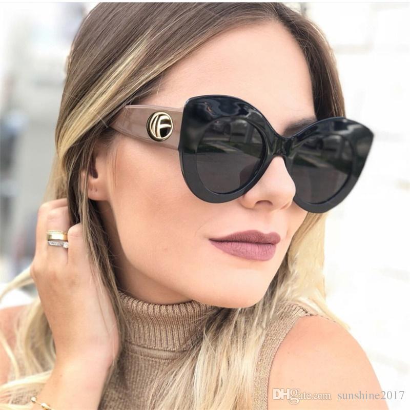 Yeni Moda Kedi Göz Güneş Kadınlar Lüks Tasarımcı Inspired Boy Vintage Siyah Cateye Gözlük Kadın Büyük Tonları UV400