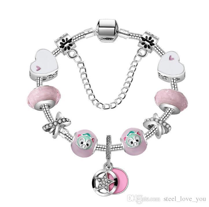 18 19 20 CM Charm Bilezik Kadınlar Için 925 Gümüş Bilezikler Kraliyet Kalp Bilezik ile Pembe Kristal Boncuk Diy Takı özel logo