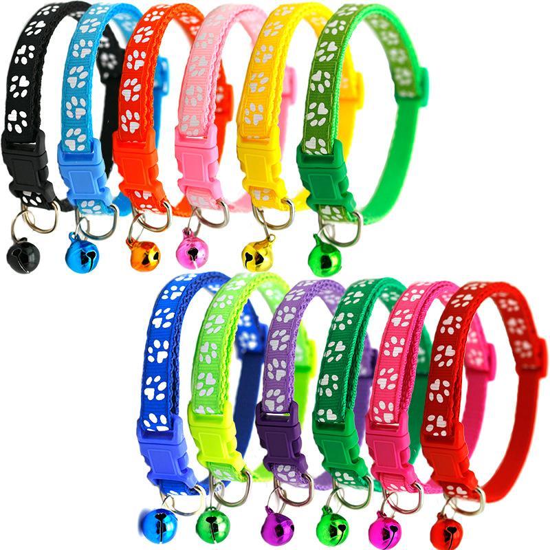 12 cores colar de estimação com sino ajustável fivela segurança leashes pequeno gato cachorro filhote de cachorro colares de coleira produto vt0834