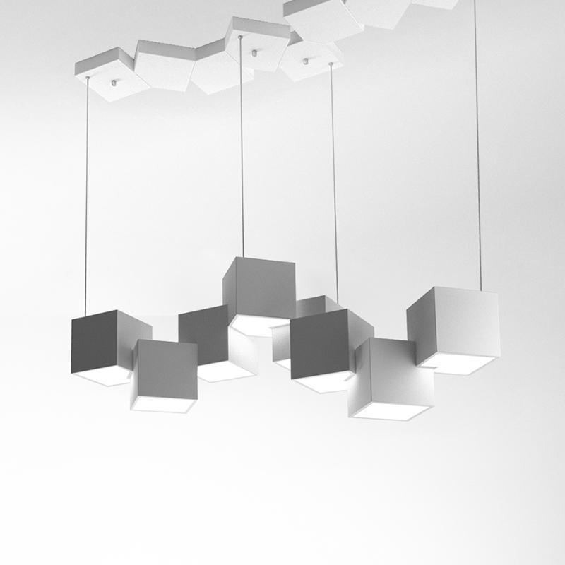 Modern Cube Metal Acrylic Pendant Light Hotel Home Decor Art Living Room Bedroom Chandelier Fixture PA0638