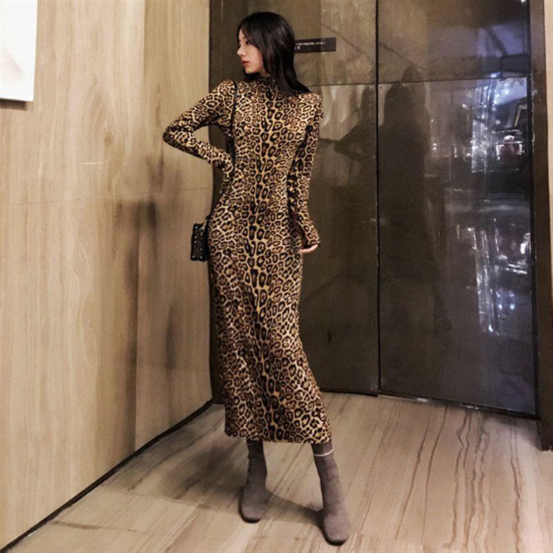 Glamaker Leopard stampa abito lungo dolcevita donna sexy Cinturino aderente abito invernale natalizio Elegante maxi party vintage