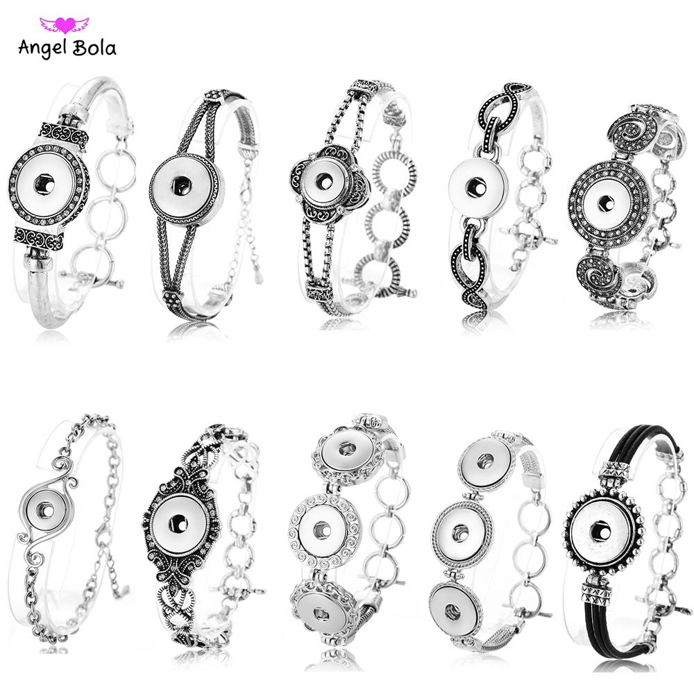 New Antique Silver Ginger Snap Bracelet Women Interchangeable Jewelry Fit 18mm Snap Button Vintage Snap Charms Crystal european bracelets