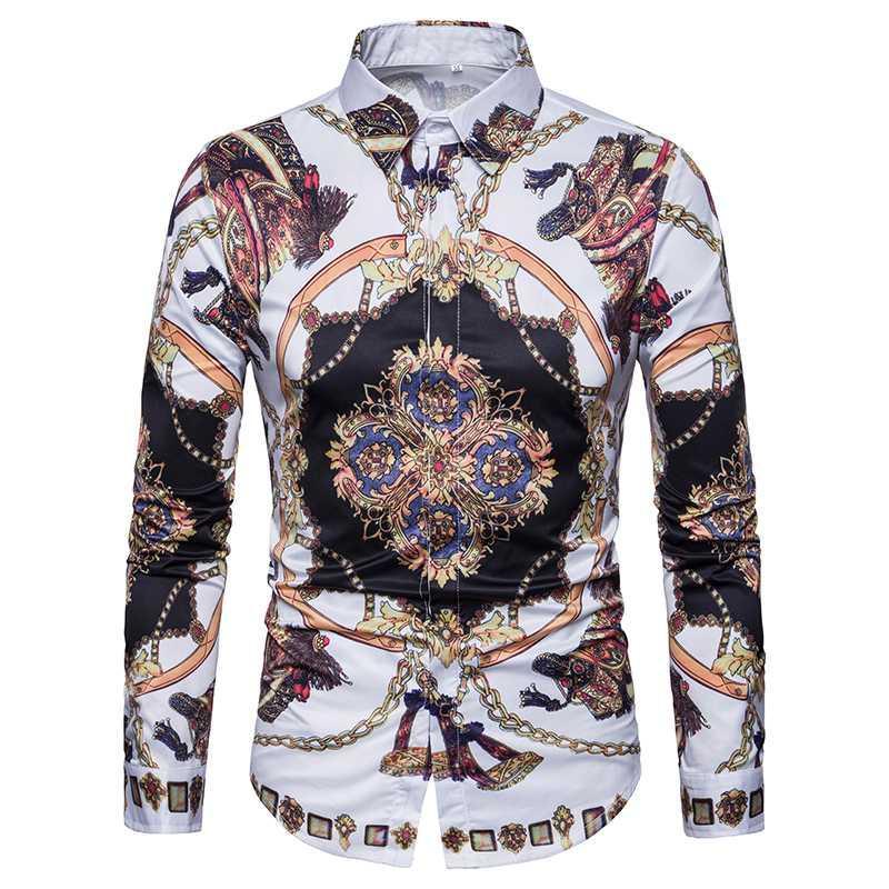 Clásica para hombre de la moda camisas de manga larga otoño Estilo floral retro Vestido estampado comercial masculino Social Camisa Streetwear