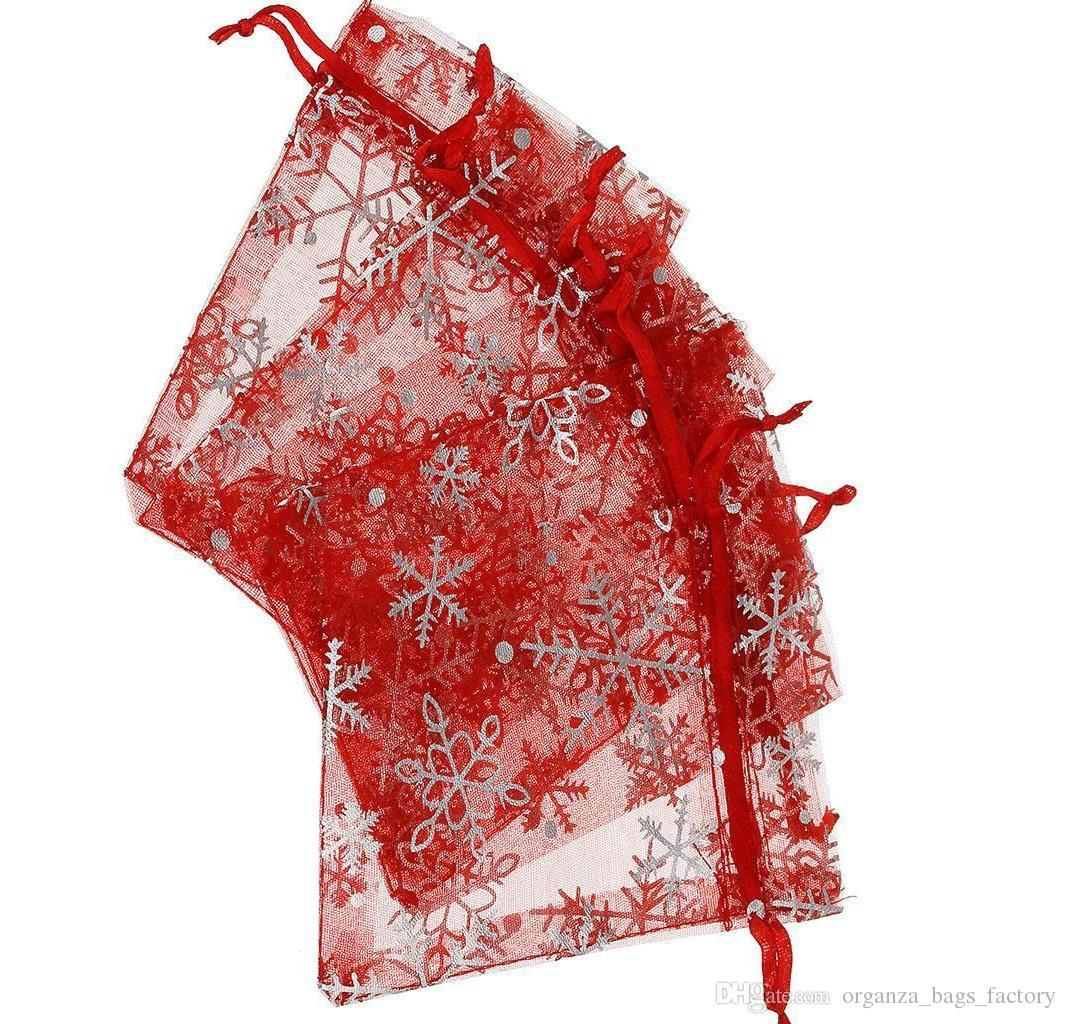 100 Pz ROSSO FIOCCO DI NEVE D'ARGENTO Organza COFFIATURA Gioielli sacchetto di imballaggio Sacchetti regalo di favore di nozze 7x9 cm / 9x12 cm / 13x18 cm