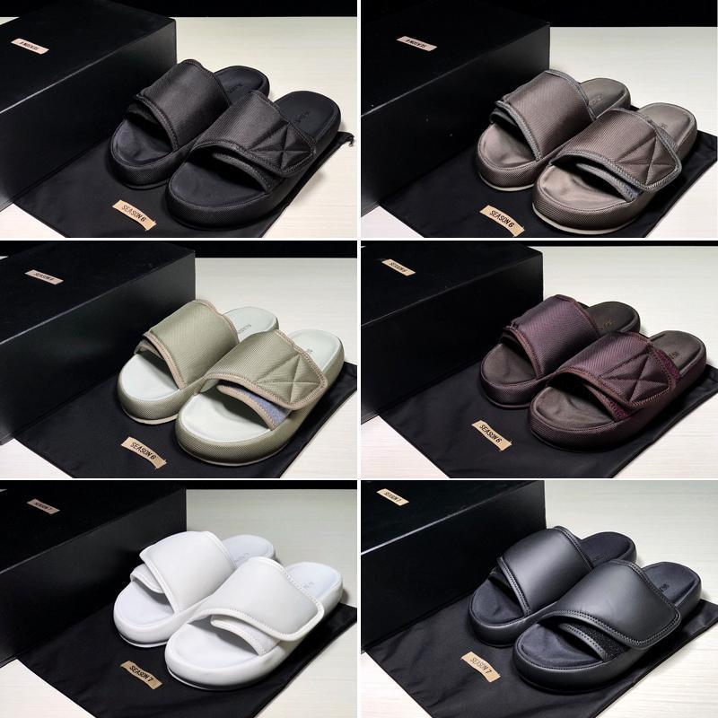 2019 Kanye сезон 6 слайды высокое качество лето Мужчины Женщины мода Запад сезон 7 черная вышивка водонепроницаемый открытый тапочки размер US5-US16fdb#