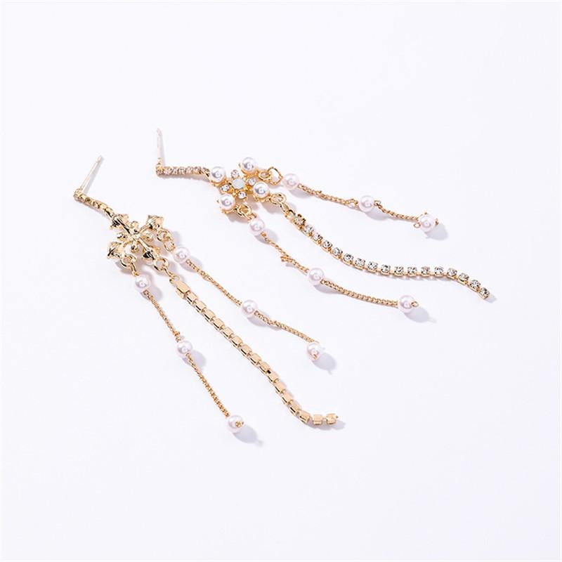 New Vintage European Pearl Flower Temperament Long Full Rhinestone Tassel Dangle Earrings For Women Pendientes Mujer Moda