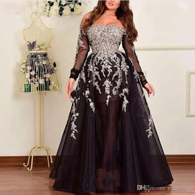 Islamic Black Evening Dresses 2019 Arabic Applique Off The Shoulder Prom Dress Sexy Party Gowns For Weddings Vestido De Festa