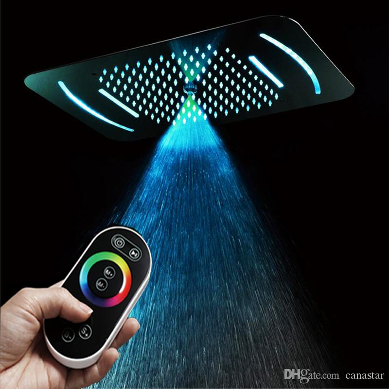 3 Functions 23 Inch 38x58cm Remote Control 64 Colors Change Led Light Big Rainfall Misty Waterfall Recessed Ceiling mounted Shower Head