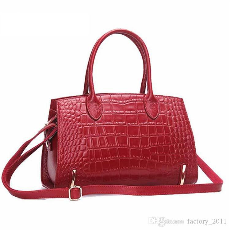 여자 핸드백 정품 가죽 Totes 악어 디자인 숙녀 가방 방수 대용량 패션 여성 핸드백 붉은 색 뜨거운 판매 C2118