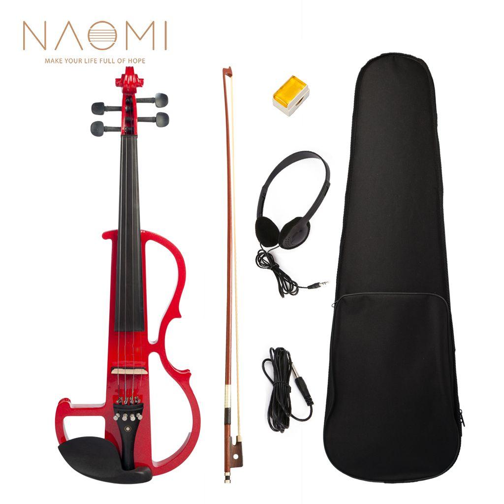 NAOMI violino elettrico 4/4 violino violino elettrico custodia rigida + cavo + cuffia set di colori rosso nuovo