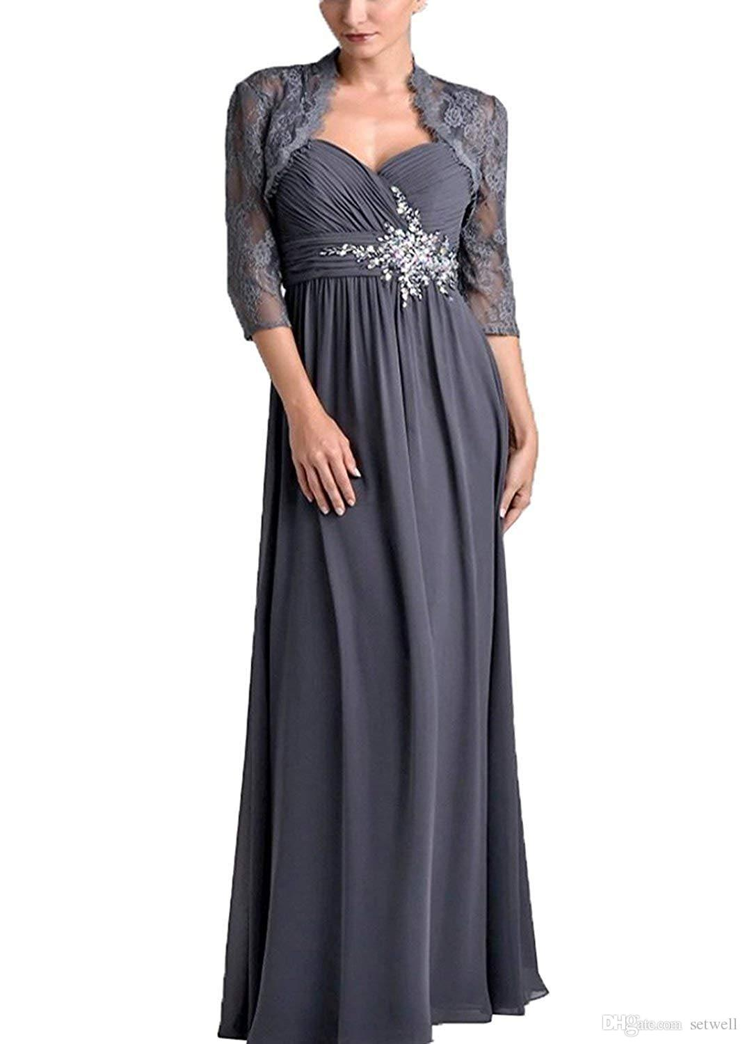 Setwell 2019 Two Pieces Sweetheart A-line Mother Of The Bride Dress 3/4 Sleeves Floor Length Lace Chiffon Wedding Guest Gown With Jacket