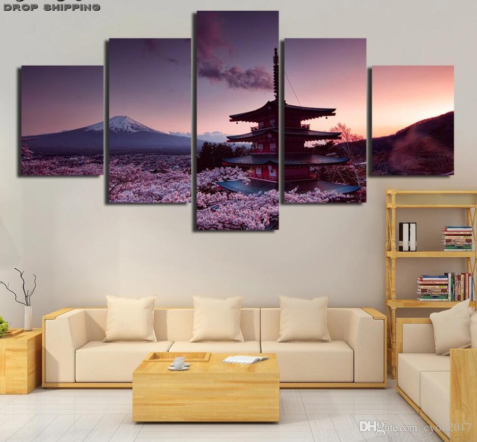 Mur Art Modulaire Toile Peinture HD Imprimer 5 Pièces Chureito Pagode Et Le Mont Fuji Affiche Image Décor Salon Pièce Artwork Cadre