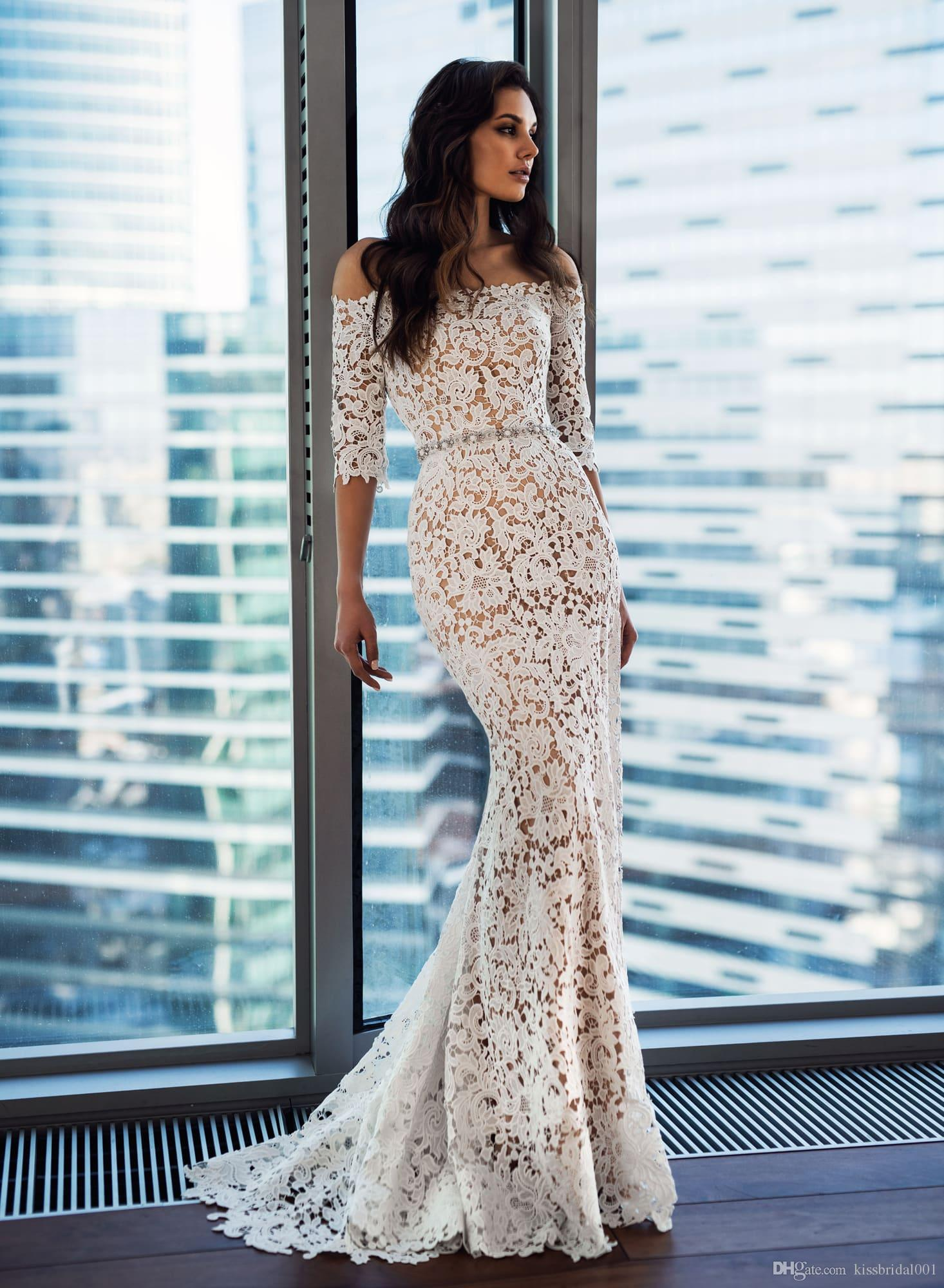 Lace Wedding Dresses Off the Shoulder Half Sleeve Beaded Belt Mermaid Wedding Dress Bridal Gowns 2019 Bride Formal Gown
