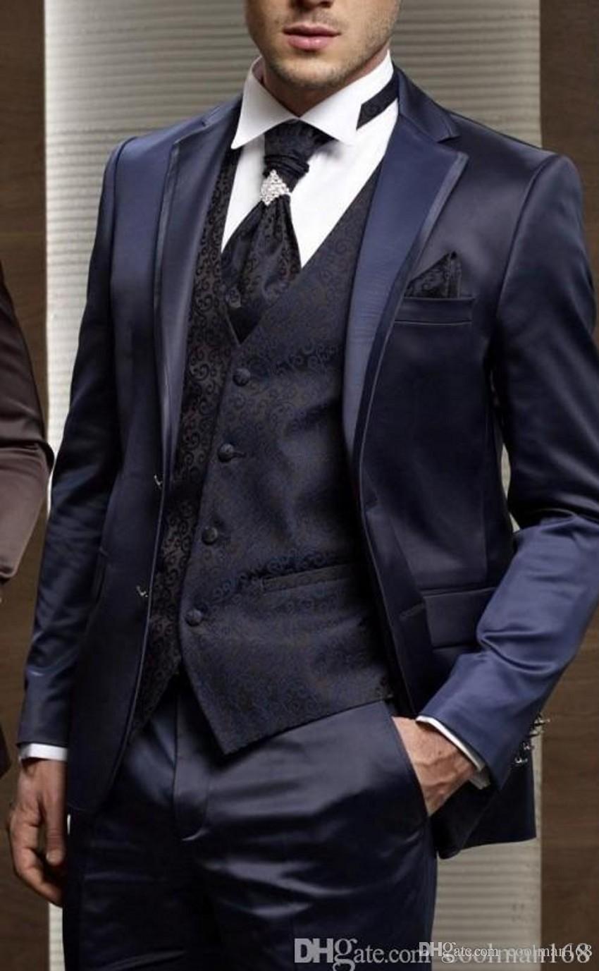 Новое Поступление Темно-Синий Жених Смокинги Вырез Отворотом Жених Мужчины Свадебное Платье Мода Человек Куртка Блейзер 3 Шт Костюм (Куртка+Брюки+Жилет+Галстук)56