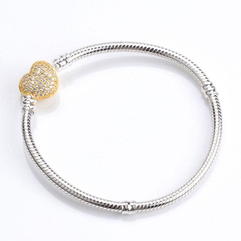 Charme europeu Bead Bracelet 925 prata banhado em ouro 18K CZ diamante com caixa adequada para Snake pulseira de Pandora Mulheres