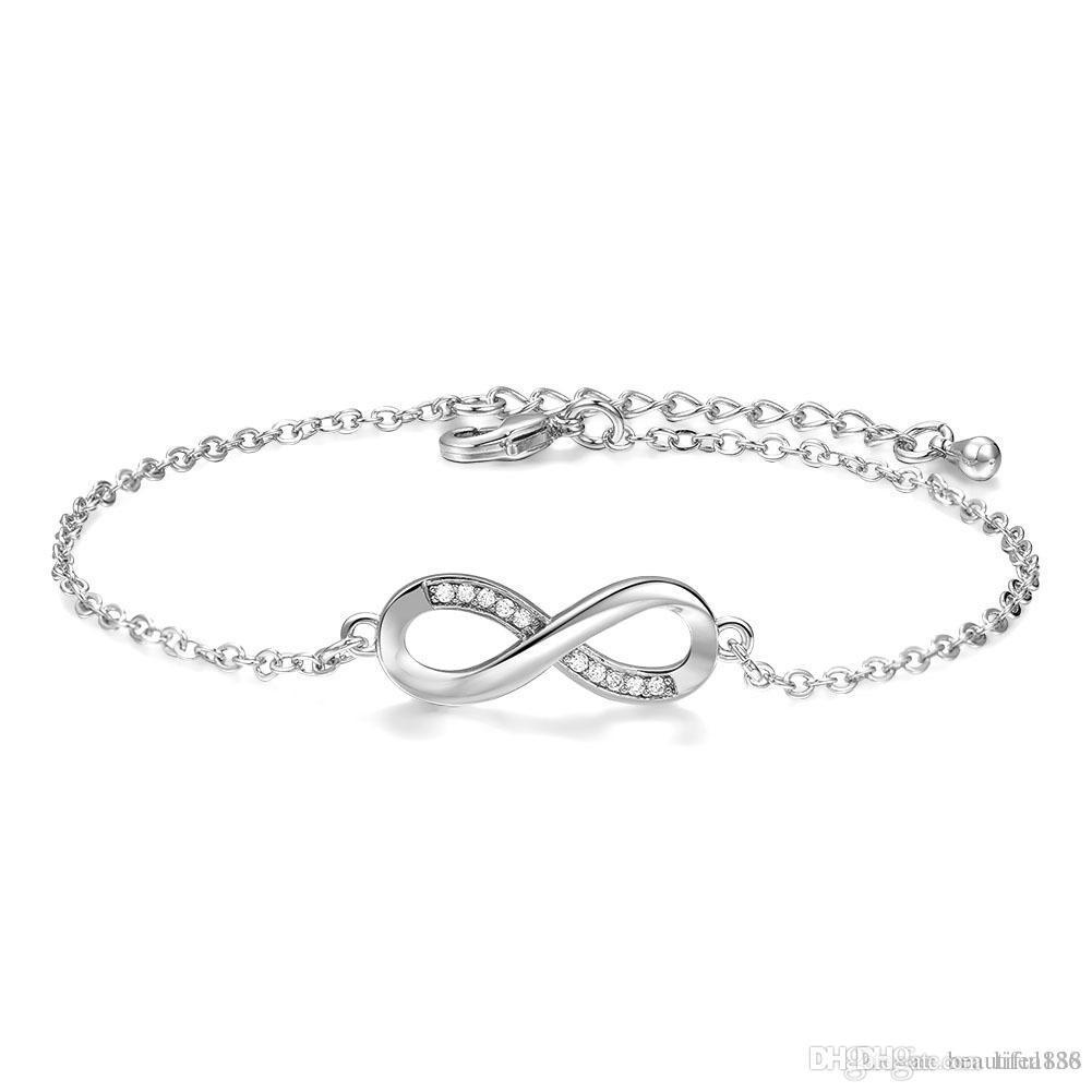 Bracelet Symbole Infini INFINITY Zirconium 18 cm Bijoux en ARGENT  NEUF