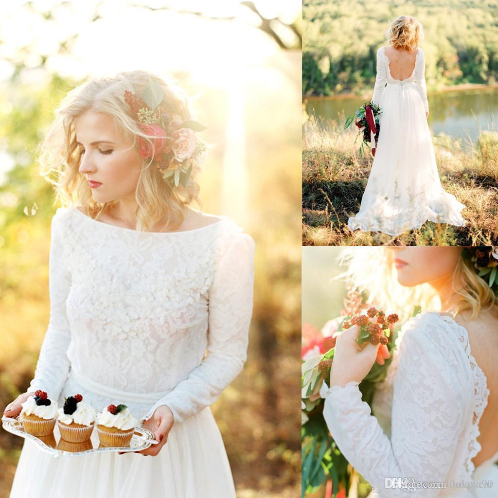 Country Boho Wedding Dresses 2019 Backless Scoop Neck Long Sleeves Lace Chiffon Beach Wedding Dress Cheap Bridal Gowns