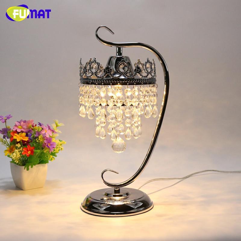 FUMAT K9 Crystal Table Lamp Foyer Sitting Room Living Room Bedside Crystal Table Lamp LED Dimming Lights Lustre Decor Table Lamp