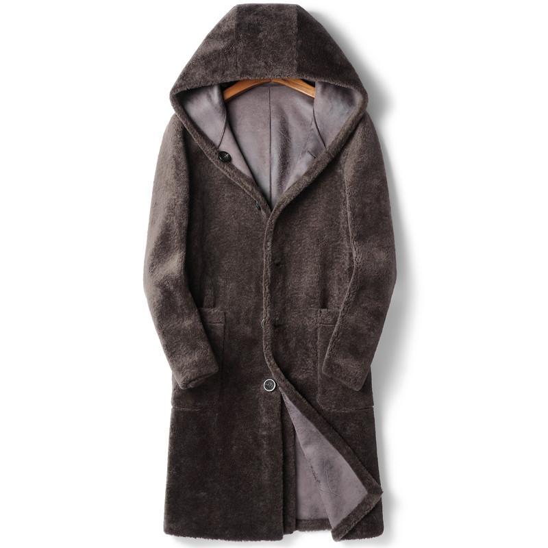 남자 가죽 가짜 100 % 양모 코트 겨울 자켓 남자 진짜 양 Shearling 모피 긴 코트 더블 사이드 착용 스웨이드 자켓 2021 Chaqueta Hombr