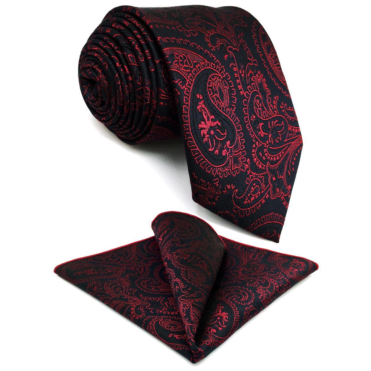 남성 엑스트라 롱 사이즈 파티 패션 손수건을위한 G15 블랙 레드 페이즐리 남성 넥타이 세트 실크 클래식 웨딩 넥타이