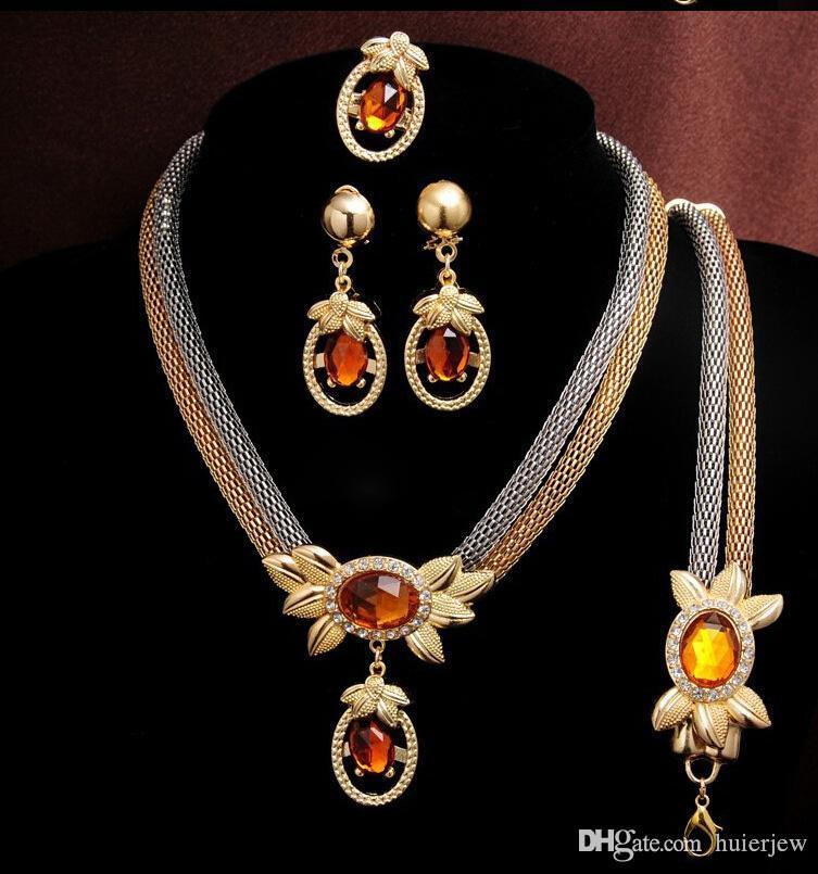 Dama de honra Conjunto de jóias de casamento cristal colar pulseira pingente brincos partido Conjuntos de Jóias Africano Maravilhosamente Como Dubai Ouro 18k Jóias
