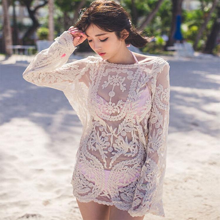 Version coréenne de la fleur de crochet de réparation automatique creux chemise en dentelle transparente soluble dans l'eau tunique chemisier femme T-shirt femme 100 à capuche