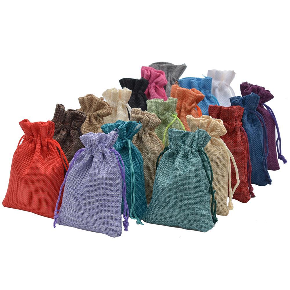 Fait à la main Jute de cadeaux hessois Drawstring faveur de mariage Sacs pour le savon Bijoux de Noël Café faisceau 100pcs sac d'emballage