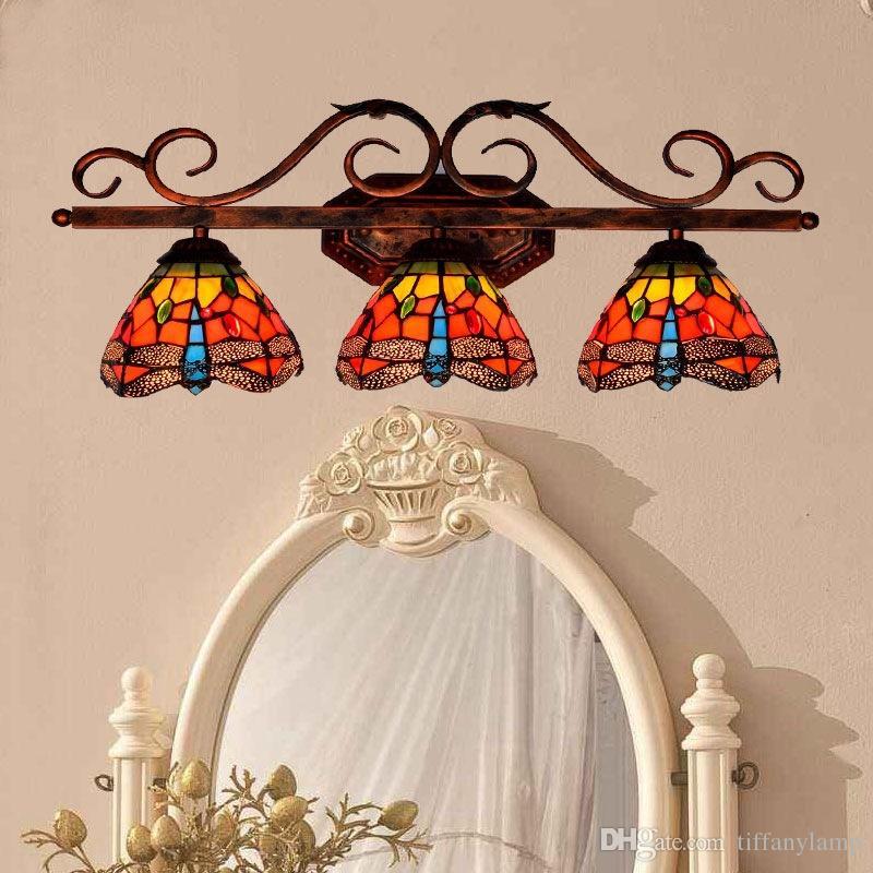 3 Chefes Lâmpadas de parede Red Dragonfly Tiffany Sconce vitral Luz parede Luminárias Art Glass Luzes LED Espelho para casa de banho