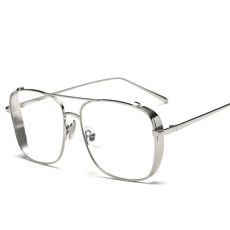 Wholesale-2019 Nuovi occhiali da sole a specchio piatto per donna Montatura in oro lunetta in metallo Cateye Shades Occhiali da sole eleganti da donna in argento estivo