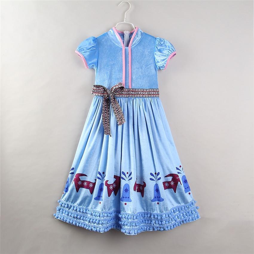 Weihnachten Mädchen Prinzessin Kleid Gefrorenes Kinder Bowknot deer Quaste Kurzarmkleid Art und Weise Kinder Winter-Parteikleider C6057