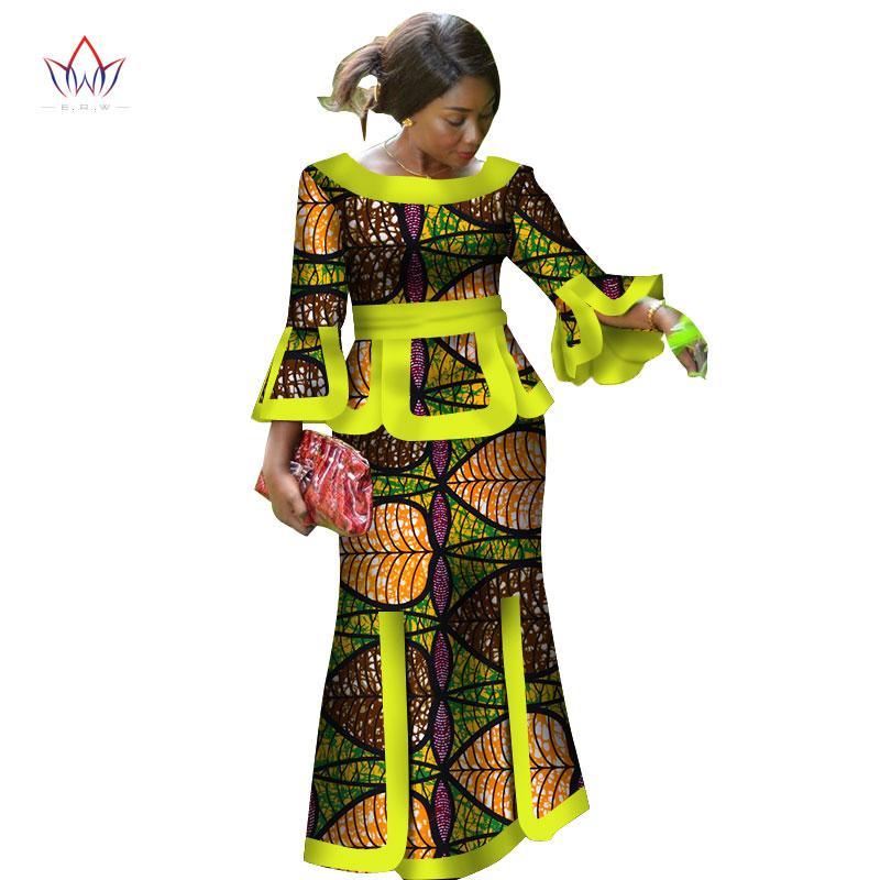 2019 Новые африканские Сыпучие Кенга платья для женщин Dashiki Традиционные 100 Хлопок Топ Юбка Набор из 3-х частей одежды WY2718