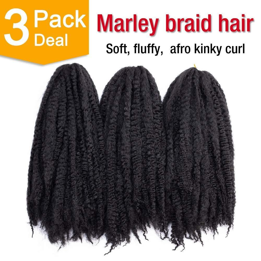 "3 Packungen 18 Zoll langer Marley Masse Kinky Twist Flechte Haar Afro Kinky Courly Twist Häkeln Zöpfe Haare für schwarze Frauen (18 ""1b)"