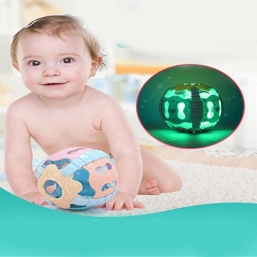 Colorido do chocalho do bebê bola macia mão Shaker de Bell com Som Luz Sensorial Baby Toy Desenvolvimento Educativo para criança Grasping