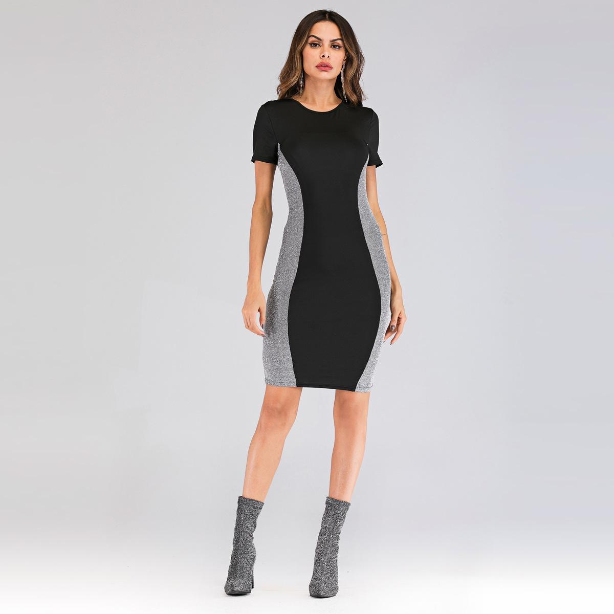 Trendy2019 Ortak Bölünmüş Gümüş Tel Elbise