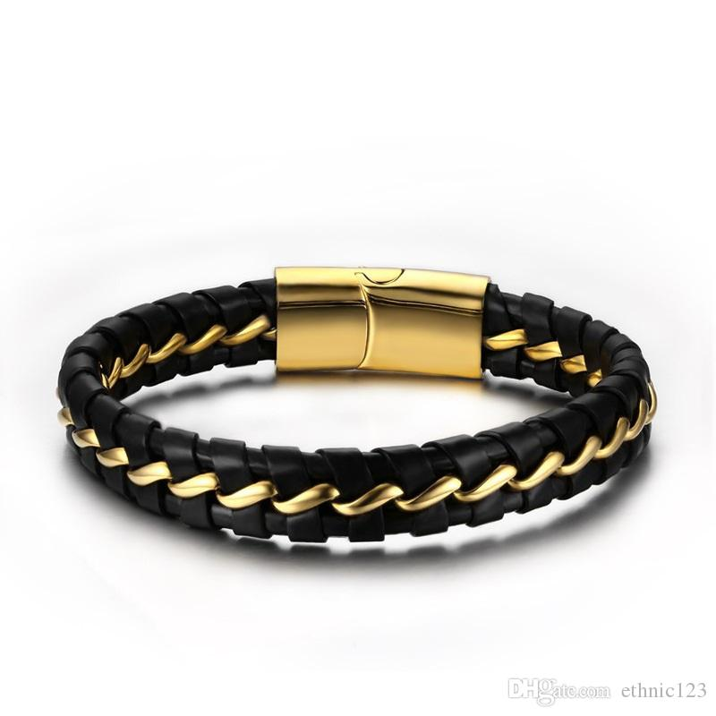New Fashion Simple Men's' Bangle Stainless Steel Leather Bracelet Watchband Jewelry Gift for Boys Men J081