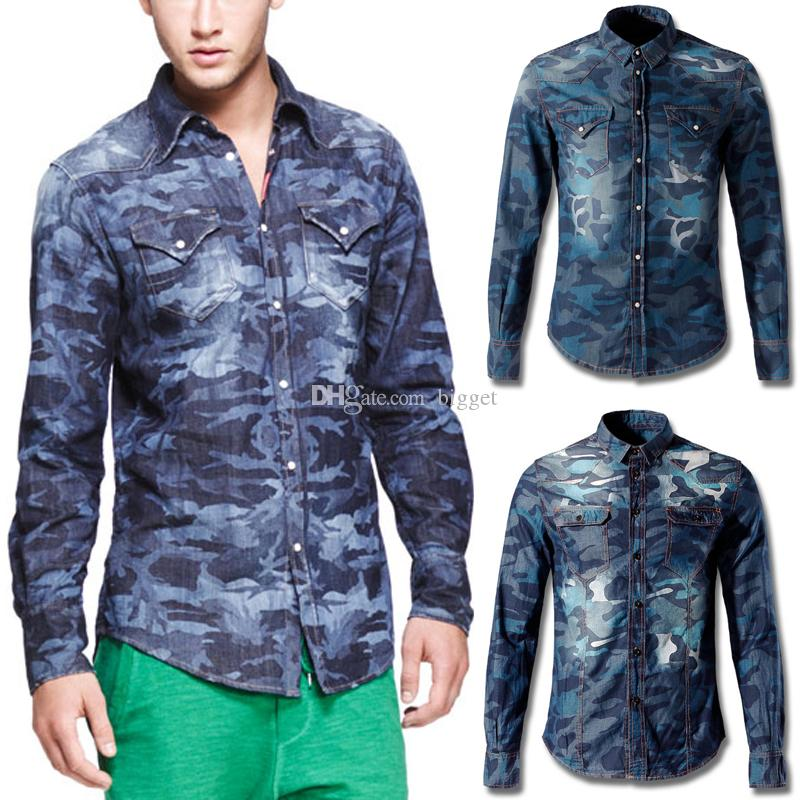 Mens Camo Denim Shirt With Pocket Famous Design Longsleeve Casual Wear Camouflage Shirt Homme Fashion Show