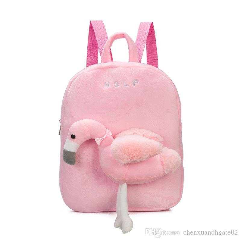 2018 New Kids girls boy Toddler Flamingo Unicorn Backpack Cartoon School Bag Plush Bookbag Zoo School Bag Little Girls Boys Animal Backpacks