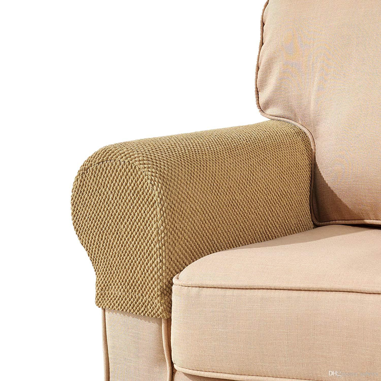 Set of 2 Spandex Stretch Armrest Cover Chair Sofa Elastic Protectors to Fit Most
