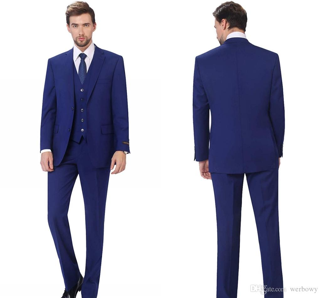 Abiti nuovi arrivi Due pulsanti Royal Blue smoking dello sposo picco risvolto Groomsmen uomo migliore Mens Wedding Suits (Jacket + Pants + tie Vest + Bow)