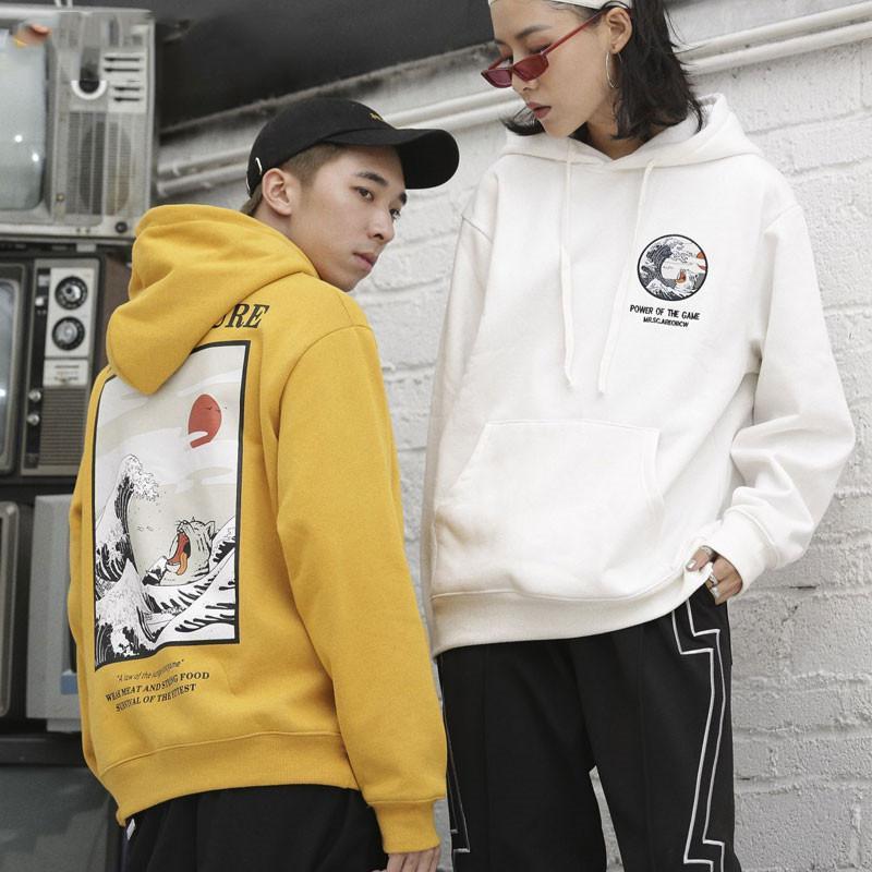 Ondas japonês bordado engraçado gato impresso velo Hoodies 2018 Inverno Japão Estilo Hip Hop Casual Moletons Streetwear