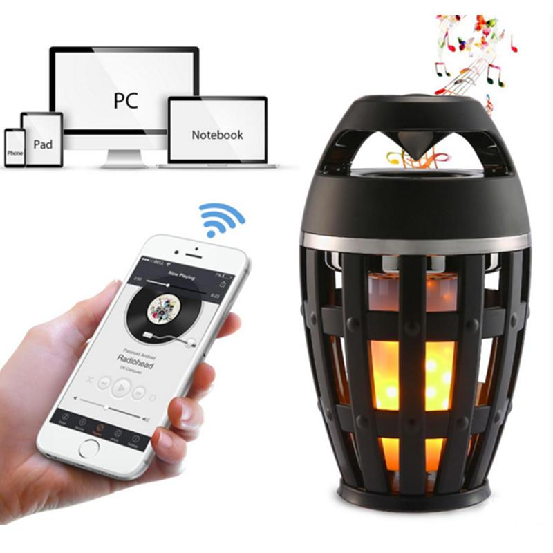 Wireless Bluetooth Stereo Mini Speaker Portable LED Flame Outdoor Camping Lamp