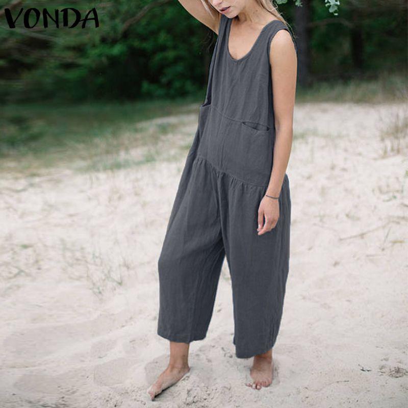 VONDA Cotton Rompers Womens Jumpsuit Summer 2020 Casual Loose Playsuits Long Wide Leg Pants Vintage Overalls Plus Size