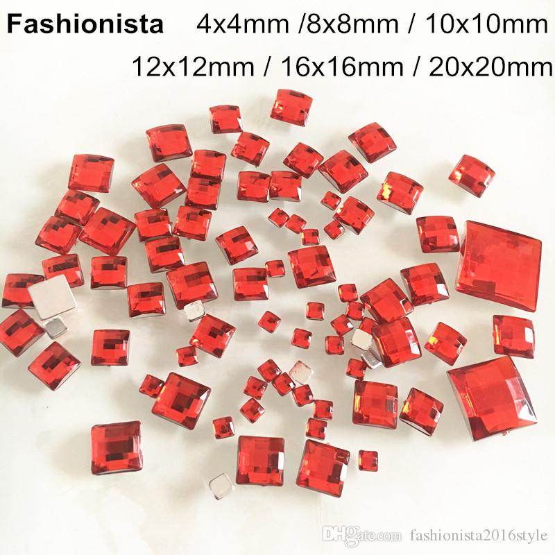 Red Square Acrylic Rhinestone For Scrapbook,Glue-on Flat Back Faceted Cabochon For Base Settings,4mm,8mm,10mm,12mm,16mm,20mm -WW