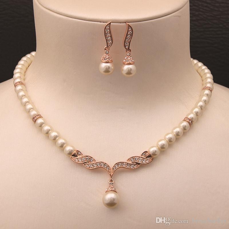 Pérola de vidro creme de cor de rosa de ouro e strass cristal nupcial colar e brincos conjuntos de jóias