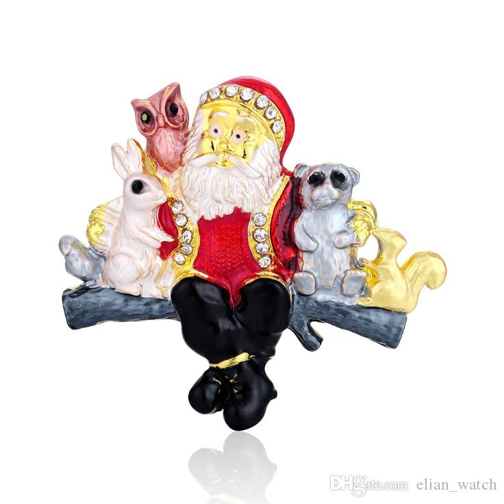 Retro mulheres strass broche série de natal pin moda bonita ano novo papai noel decorado presente festa jóias