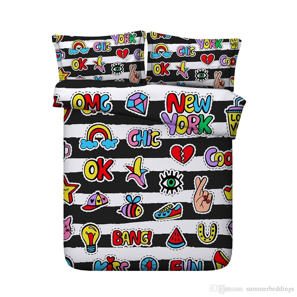 Black White Striped Bedding Set Cartoon Duvet Cover Kids Teen Boys Girls 3 Pieces Comforter Quilt Cover With 2 Pillow Shams Fish Music