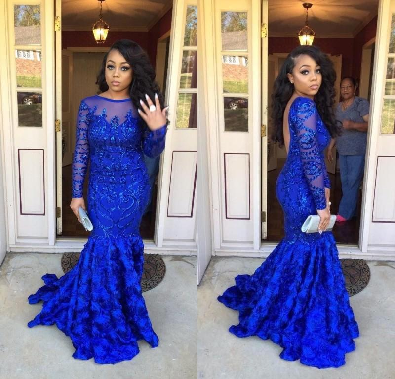 2019 Gorgeous Royal Blue Mermaid Prom Dresses per Black Girl Beaded Paillettes maniche lunghe Tired Ruffled Prom Gowns Women Evening Party Dress