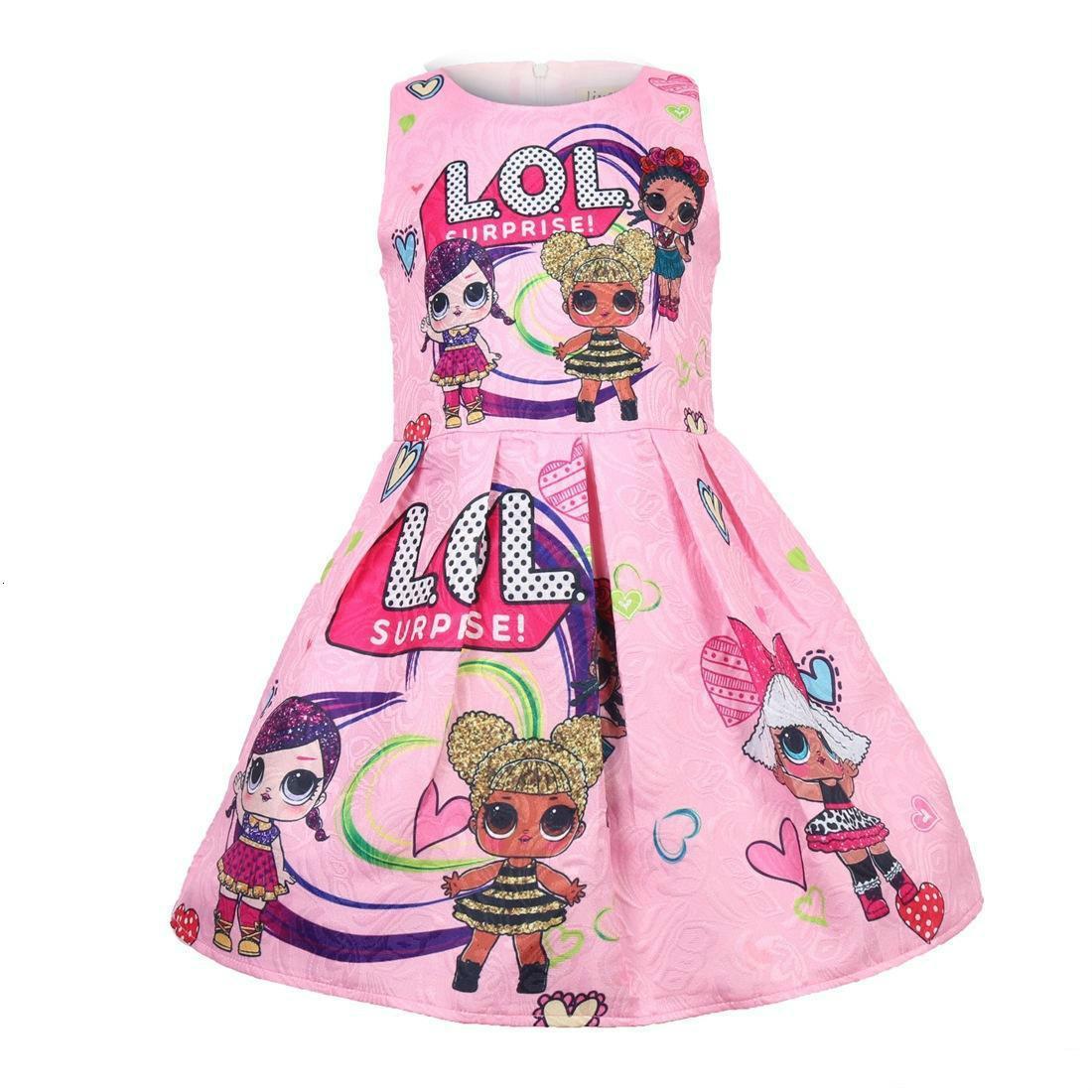 2019 yaz sıcak satış çocuk kız elbise bebek baskılı prenses yarışması elbise kızlar 100-140 giysi