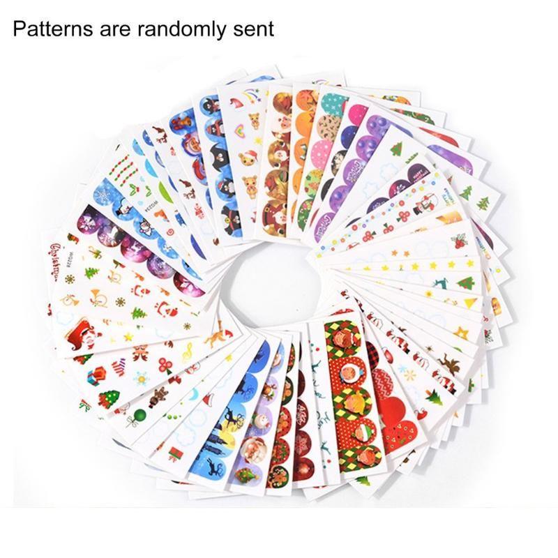 20/25/45 uñas PCS Dulce Navidad para el parachoques elegante de Navidad Impresión de adhesivos para el clavo de la herramienta de DIY la decoración del arte de papel