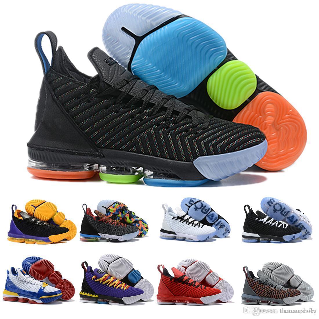 2019 LB XVI 16 16 s PE Homens Sapatos de Basquete Mulheres Rainbow Trono Preto Violeta Ouro James Trainers Calçados Esportivos Designer Tênis Tamanho 40-46